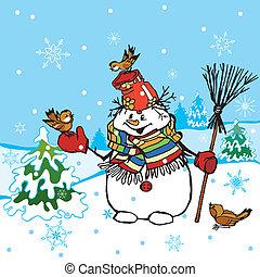 Escena divertida del muñeco de nieve
