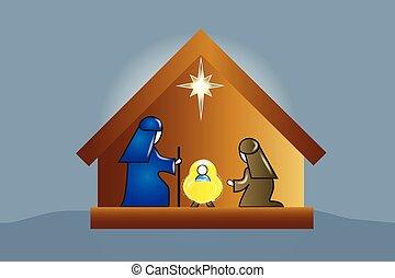 escena, familia , natividad
