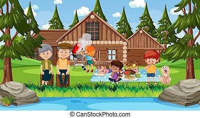 escena, familia , teniendo, al aire libre, picnic, feliz, naturaleza