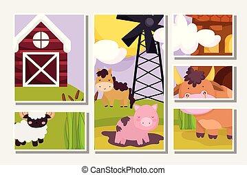 escena, granja, tarjetas, especulador al alza caballo, goat, animales, cerdo, molino de viento, granero