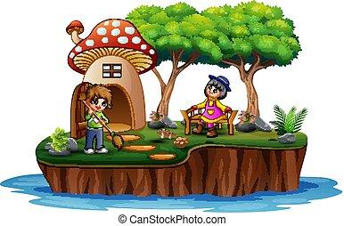 escena, niña, niño, isla