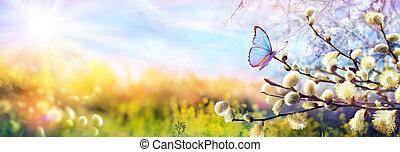 escena, paisaje abstracto, ramas, defocused, catkins, soleado, -, mariposa, primavera