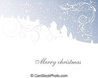 escena, -, tarjeta de navidad, invierno