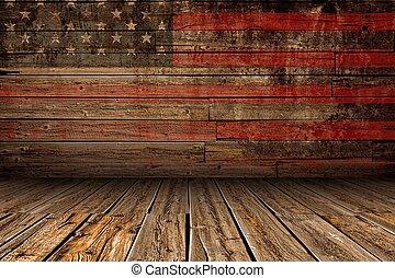 Escenario americano de madera