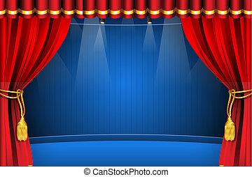 Escenario con cortina