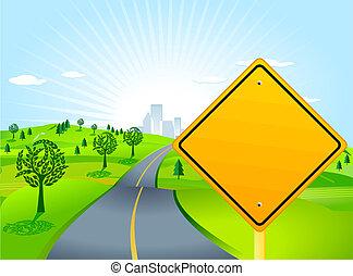 Escenario con señal de carretera