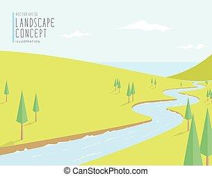 Escenario natural, el río fluye hacia el mar en un día brillante vector plano.