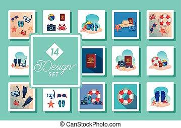 escenas, catorce, diseños, iconos, conjunto, verano