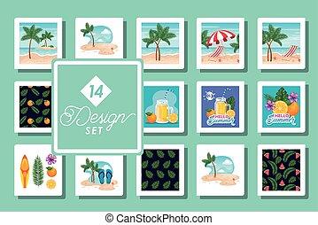 escenas, catorce, patrones, diseños, conjunto, verano