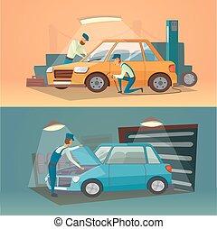 Escenas de reparación de coches ilustración vectorial. Trabajadores en neumáticos de servicio y negocios de autos. Garaje de dibujos animados