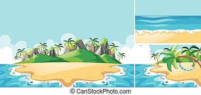 Escenas de verano con océano y playa