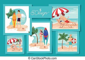 escenas, diseños, gente, conjunto, verano, cinco