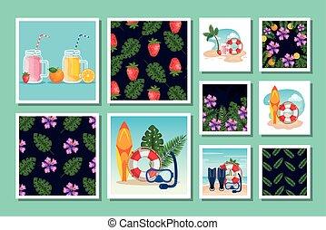escenas, patrones, tropicals, verano, lío