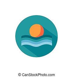 escenas, verano, bloque, ondas, sol, estilo, mar