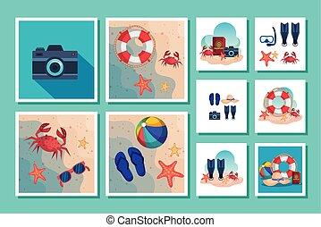 escenas, verano, iconos, lío