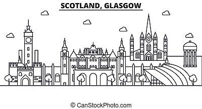 Escocia, línea de arquitectura de Glasgow ilustración en el horizonte. Vector lineal Cityscape con puntos de referencia famosos, vistas de la ciudad, iconos de diseño. Landscape wtih derrames editables