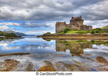 escocia, reino unido, donan, tierras altas, eilean, castillo