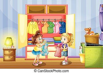 escoger, niñas, dos, armario, ropa