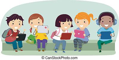 escolares, stickman, tableta, computadoras