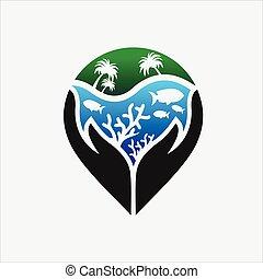 escollos, logotipo, cuidado, coral