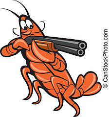 escopeta, apuntar, langosta, caricatura, cangrejo río