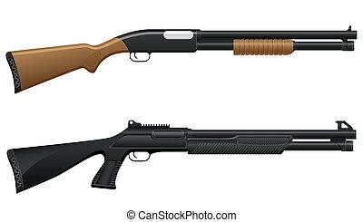 escopeta, ilustración, vector