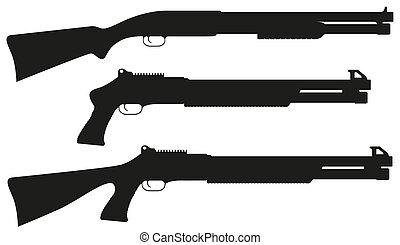 escopeta, vector, silueta, negro