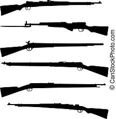 escopetas, seis, viejo
