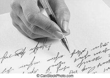 escribe, mujer, carta, manuscrito