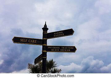 Escribiendo nota mostrando autoestima. Una foto de negocios muestra la práctica de tomar medidas para mejorar una s es su propia señal de salud en la encrucijada con el cielo azul nublado en el fondo.