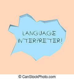 Escribiendo notas que muestran intérprete de idiomas. Fotos de negocios muestran mensajes entre dos idiomas diferentes burbujas de habla azul pálido en telón de fondo de 3D de corte irregular.