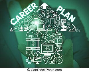 Escribiendo notas que muestran un plan de carrera. Una foto de negocios que muestra un proceso en curso donde exploras tus intereses y habilidades masculinas llevan traje de trabajo formal presentando dispositivo inteligente.