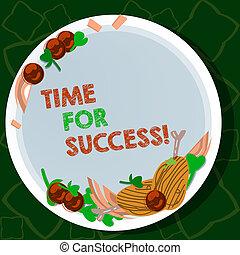 Escribiendo textos escribiendo tiempo para el éxito. Concepto el significado de obtener recompensas profesionales después de trabajo duro mano de cordero dibujado costillas de hierbas tomates de cereza especias en plato de color blanco.