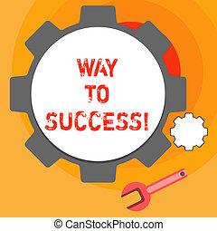 Escribir palabras camino al éxito. Un concepto de negocios para que en el camino correcto se cumplan los objetivos de los sueños.