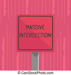 Escribir palabras en una intersección masiva. El concepto de negocios para el cruce de agravios donde dos o más carreteras se encuentran o cruzan 3D cuadrado en blanco señal de advertencia colorida con la frontera negra montada en madera.