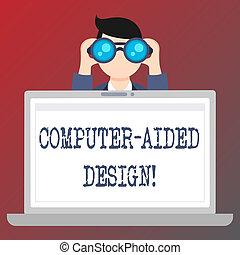 Escribir textos a mano escribiendo diseño de computadoras. Concepto que significa diseño industrial CAD usando dispositivos electrónicos.