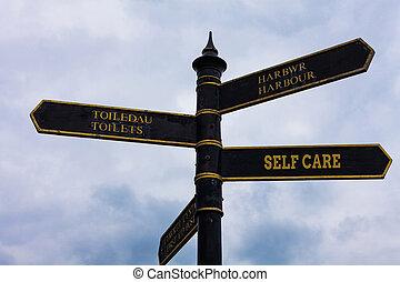 Escribir textos auto cuidado. El concepto de negocios para la práctica de tomar acción para mejorar una s es su propia señal de salud en la encrucijada con el cielo azul nublado en el fondo.