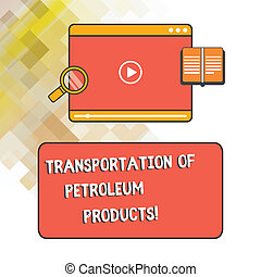 Escribir textos de transporte de productos de petróleo. El concepto de negocios para los envíos de petróleo y gas de la industria de los envíos de tablet de videojuego subiendo la descarga y ampliando el espacio de texto de vidrio.