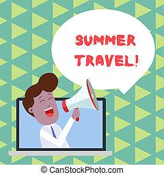 Escribir textos de viaje de verano. Un concepto de negocios para un viaje específico o un viaje por lo general con el propósito de un hombre de recreación hablando a través de portátil en voz alta en un anuncio de burbujas.