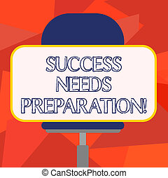 Escribir textos requiere preparación. El concepto de negocio para la preparación de un futuro para lograr metas en blanco pegatina de forma rectangular sentada horizontalmente en una silla giratoria.