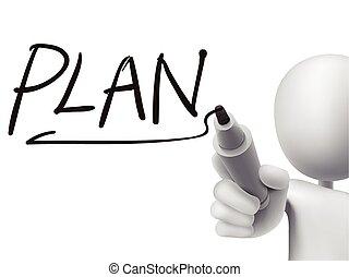 escrito, 3d, palabra, plan, hombre