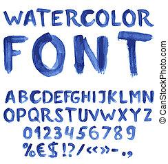 Escrito a mano alfabeto azul