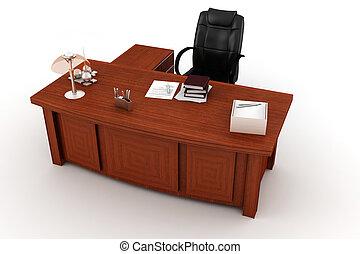 escritorio, blanco, ejecutivo, 3d