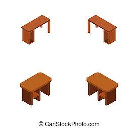 escritorio, blanco, ilustrado, vector, icono, plano de fondo