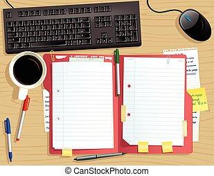 Escritorio con archivo de documentos