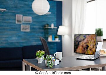 escritorio, oficina, flores, apartamento, pequeño