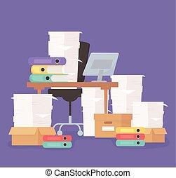 escritorio, papeleo, énfasis, computadora, silla, cajas, oficina