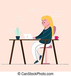 escritorio, sonriente, estilo, caricatura, vector, sentado, mujer