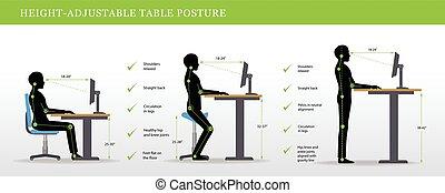 escritorios, posturas, altura, ajustable, posición, correcto