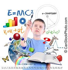 escritura, ciencia, niño, escuela, educación
